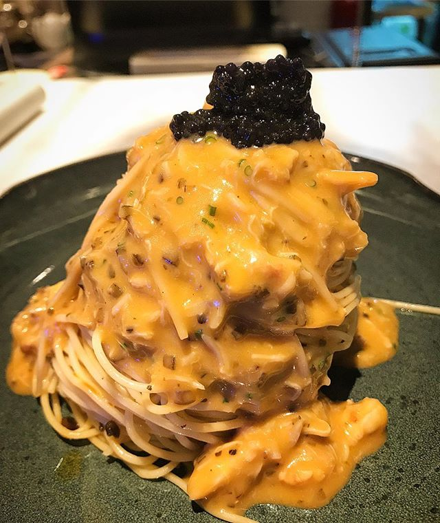 Crab meat and caviar cold pasta.