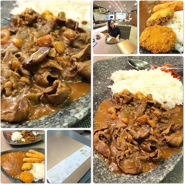 ebi fry & pumpkin Croquette curry and Gyuniku curry @$14
