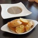 Mushroom Soup ($5.80) & Garlic Bread ($5.70)