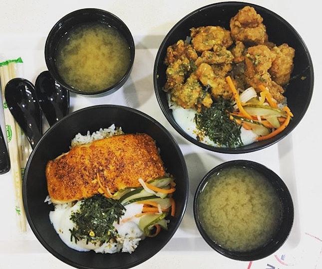 Mentaiko salmon don ($9.90) and Garlic Parmesan chicken don ($7.90).