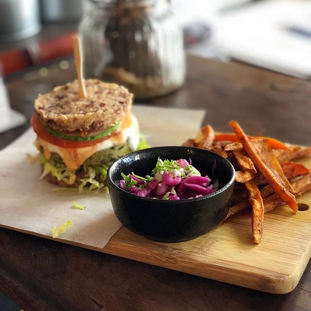 Quinoa and spinach hash brown burger ($20).