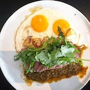 Hearty brunch with steaks and eggs