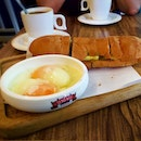 Half Boil eggs and Focaccia toast Love the chopping board look!