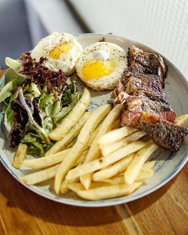 Butchers Daughter  Nvm the name, this is essentially steak, fries and egg(any type u want).