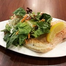 Salvation for ravenous patron - Salmon with one salad (SGD$12.50) - I chose salmon salad as well.