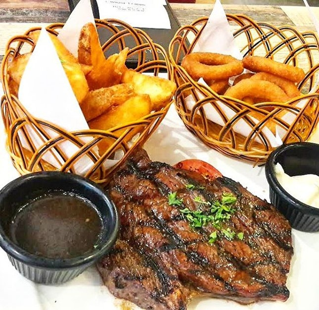 Ribeye Steak (SGD$28.00 with 2 sides) - we chose Onion Rings and Potato Wedged for sides.