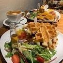 Yummy Airy Waffles With Amazing Honey