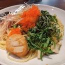Spaghetti Hokkaido Scallop with Myoga, Tobiko & Wasabi
