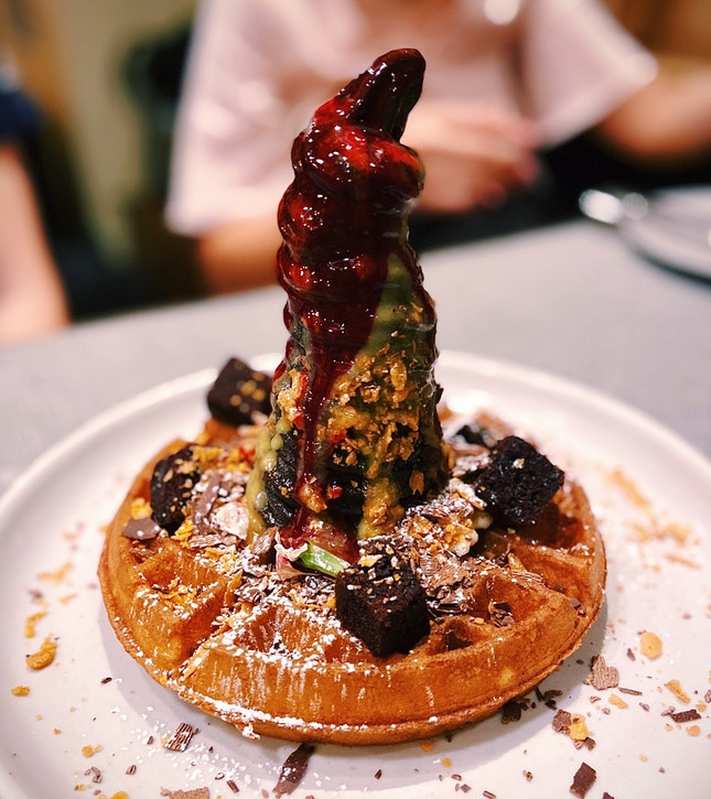 Dark Chocolate Sundae with Buttermilk Waffle
