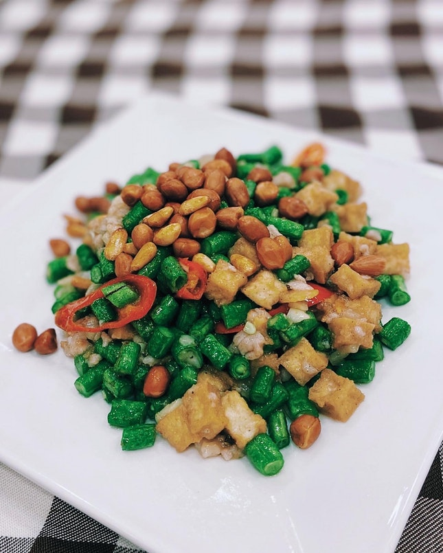 Fried Long Bean with Beancurd Cubes, Nuts and Minced Pork 家乡炒粒粒