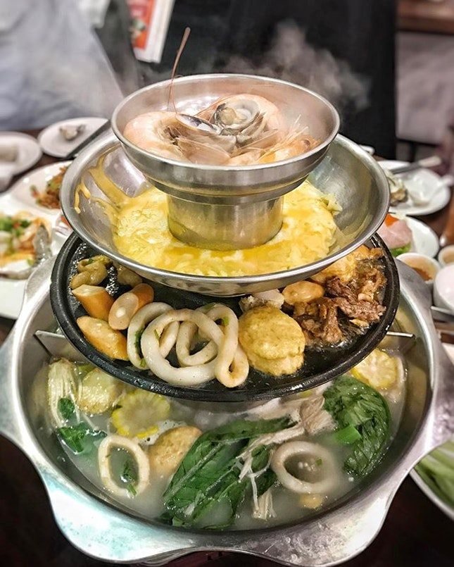 What do you get from a 4-tier hotpot, consisting of steamer, cheese dip pot, bbq and steamboat?