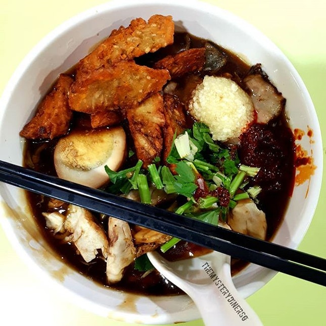 Traditional Lor Mee $4 + $1 Yam Roll  This traditional lor mee consist of ngoh hiang, braised egg, braised pork belly and fried cod fish.