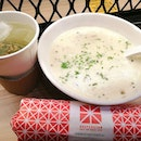 Souperstar Combo B $9.90 -Potato and Chicken Soup -Sesame Chicken Popiah -Genmaicha  The soup is rich in flavor profile, smooth and not too creamy to make u feel jelad.