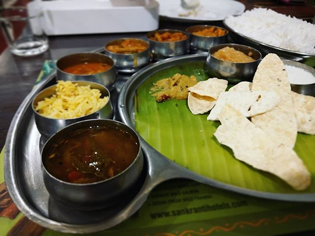 Thali refers to an Indian style meal that made up of various selection of small dishes (Vegetables, curd and curries).