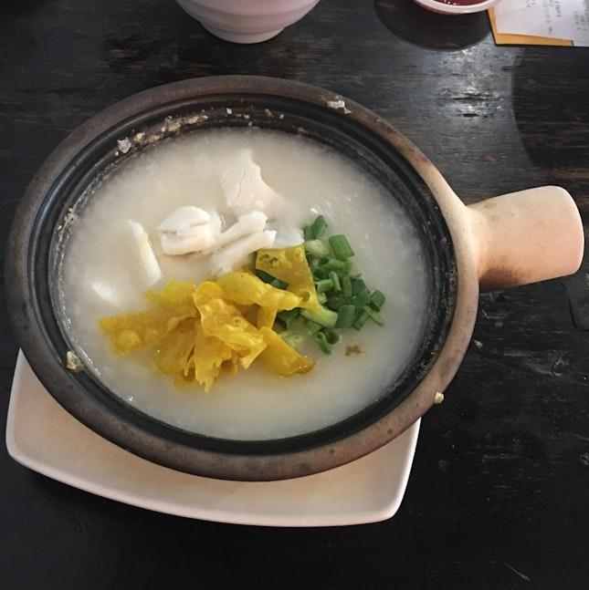 Sliced Fish Congee In Claypot