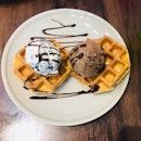 Double Waffle Combo (Chocolate Chip & Triple Chocolate Ice Cream)