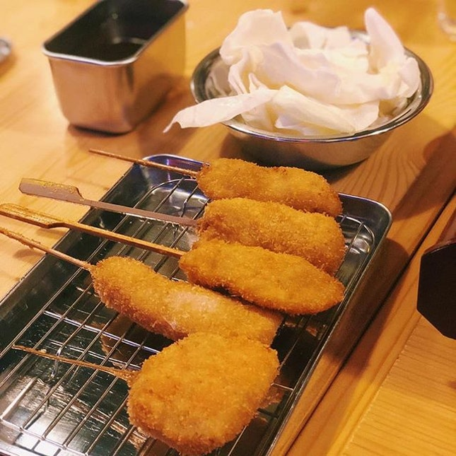 📍 Kushikatsu Tanaka Meaty 5 Kushikatsu ($10) We had Pork, Chicken, Bacon Cheese and Ham.