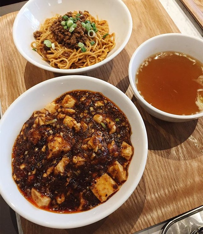 Enjoy the best of both worlds with the Mapo Don / Dan Dan Mien set with a drink ($10.80).