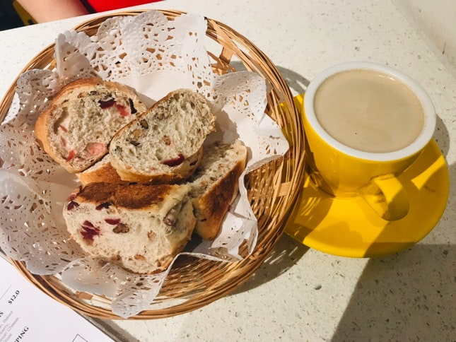 Pecan Cranberry Bread And Flat White