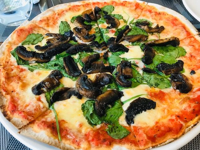 Mushrooms, Pesto , Wilted Spinach , Truffle Oil , Mozzarella