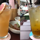Grapefruit Thyme Strawberry Green Tea • Passion Fruit Ginger Soda