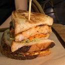 Char grilled chunky prawn sandwich