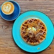 Apple crumble waffle and seven spices chai latte