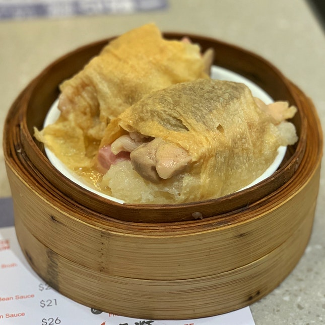 Beancurd skin with chicken and fish maw