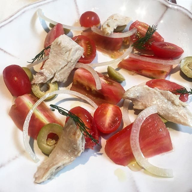 The other starter was tomatoes, olives and tuna.