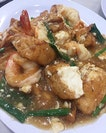 Prawns with tofu.