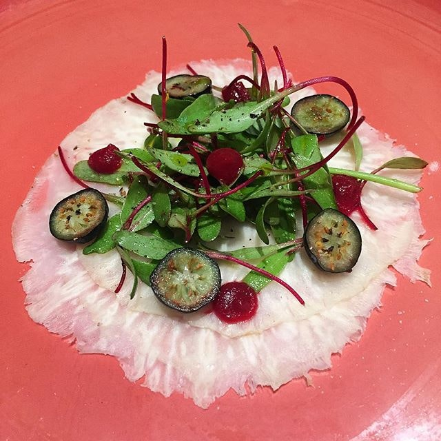 Celeriac carpaccio with salsa verde, baby beetroot, salmoriglio and blueberries.