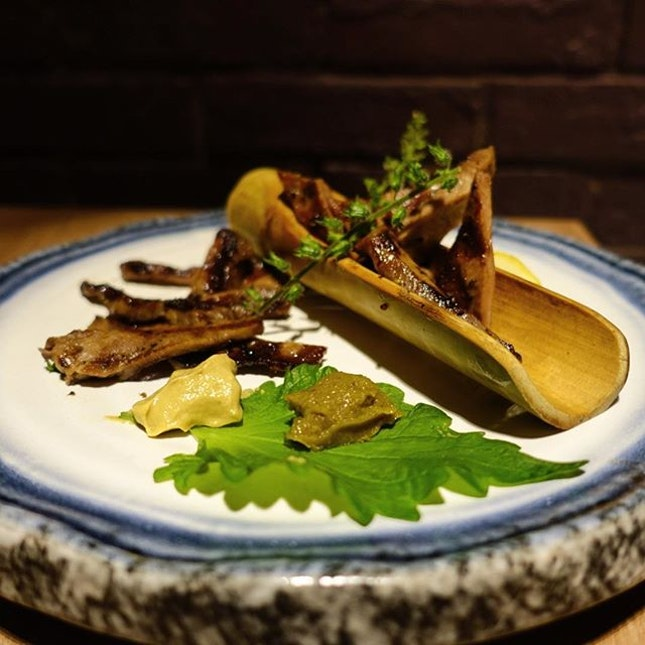 [HOSTED] Ox tongue with shio kosho and mustard.