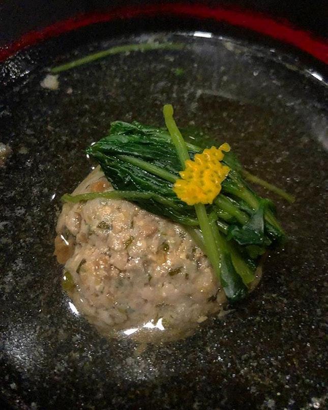 Today's special was this mackerel or Saba dumpling.