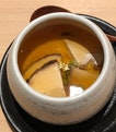 Chawan mushi with mushrooms and shirako.