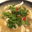 Can you see the flesh of the young coconuts which were used to prepare this amazing clear tom yum soup?