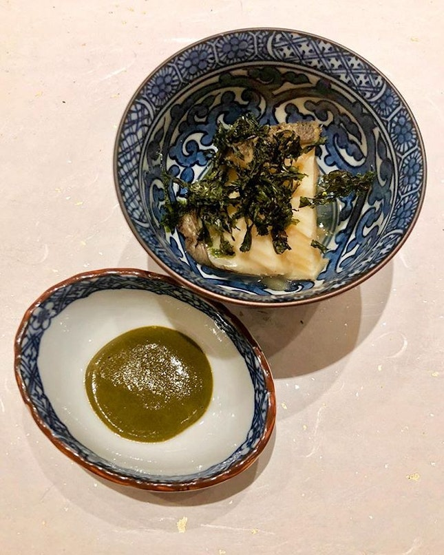 Sake steamed abalone with its liver made into a sauce.