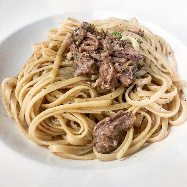Beef brisket aglio olio.