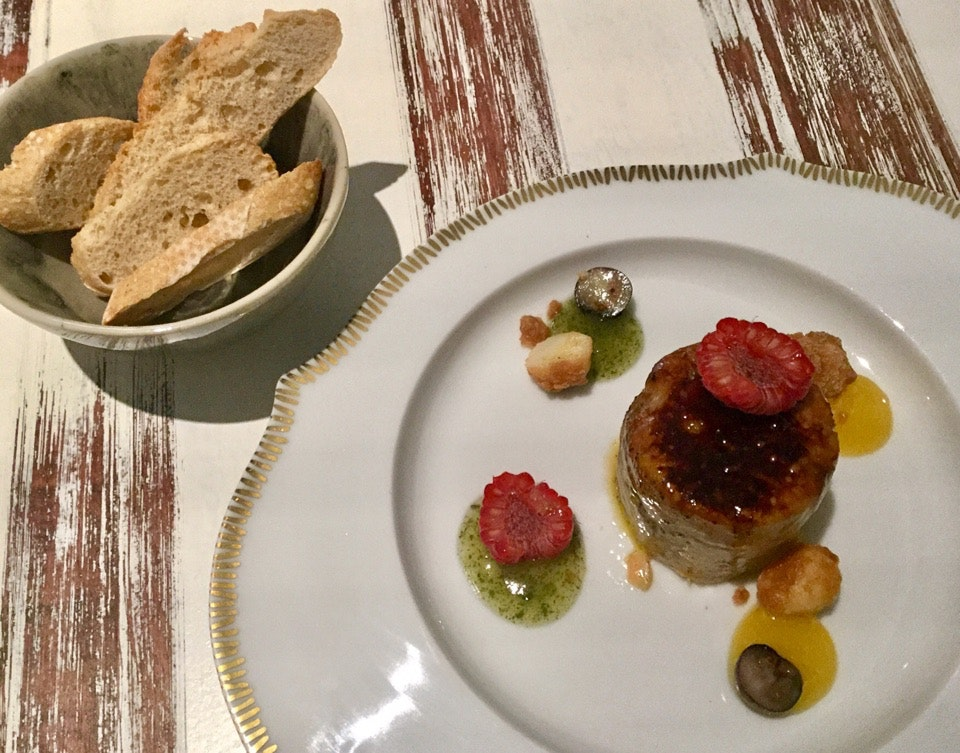 """Foie gras """"micuit"""" with orange, mint and macadamia nuts  $16.20"""