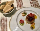 "Foie gras ""micuit"" with orange, mint and macadamia nuts  $16.20"