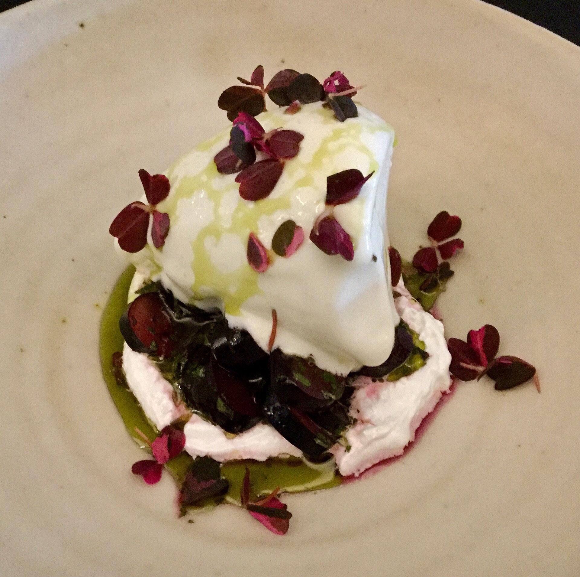 Yoghurt sorbet, shiso, oxalis, black grapes, roasted kelp oil  $16