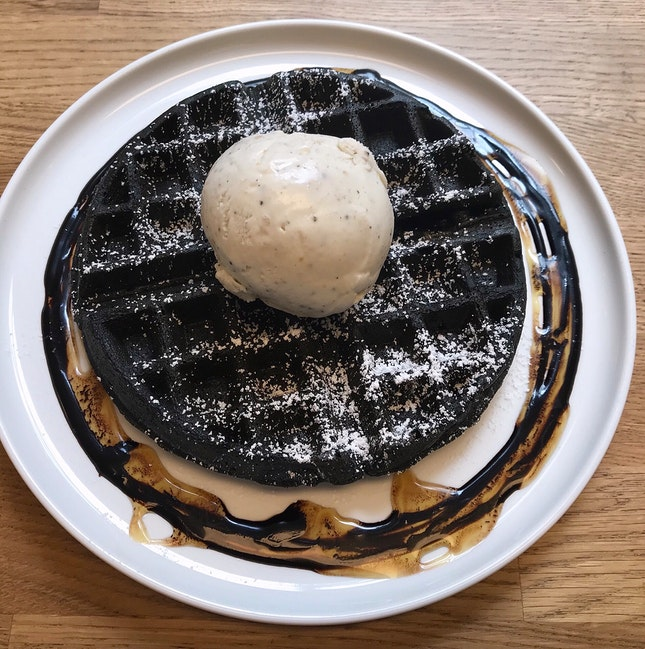 Charcoal Waffle with Summer Black Truffle Ice Cream  $15