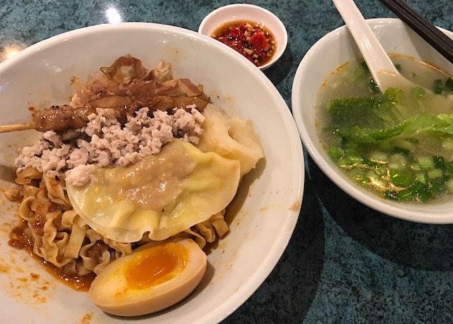 阿源麵薄+日式燒雞串 $6.80