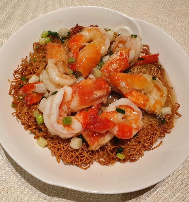 上湯焗生中蝦+兩麵黃  $39