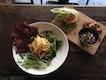 Lentil Salad, Quinoa Spinach Burger