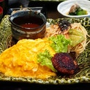 Omurice and demiglace with mentaiko pasta and Hamburg.