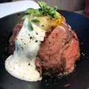 Wagyu beef bowl (regular -$10)  The roasted beef slices were soft, accompanied with a sousvide egg and yogurt sauce.