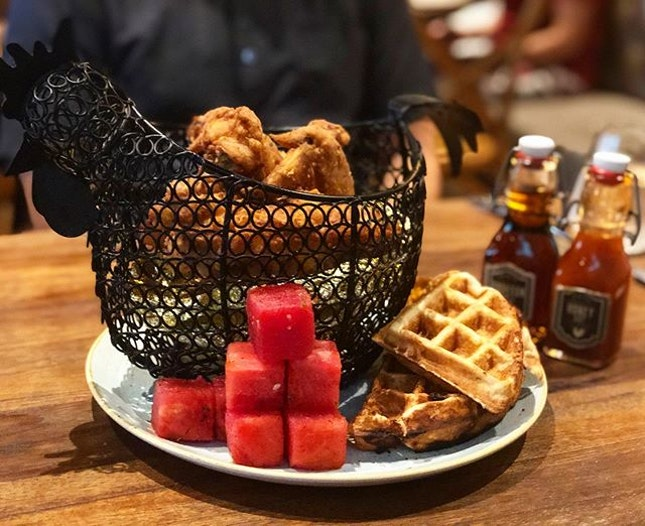 Chicken 'N' watermelon 'N' waffles ($45)  Signature old school fried chicken, hot sauce honey, chilled spice watermelon, cheddar cheese chow chow waffle, bourbon maple syrup.