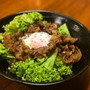 Grilled lamb Don (150g, $15)  Specially selected lamb aged and topped with onsen egg.