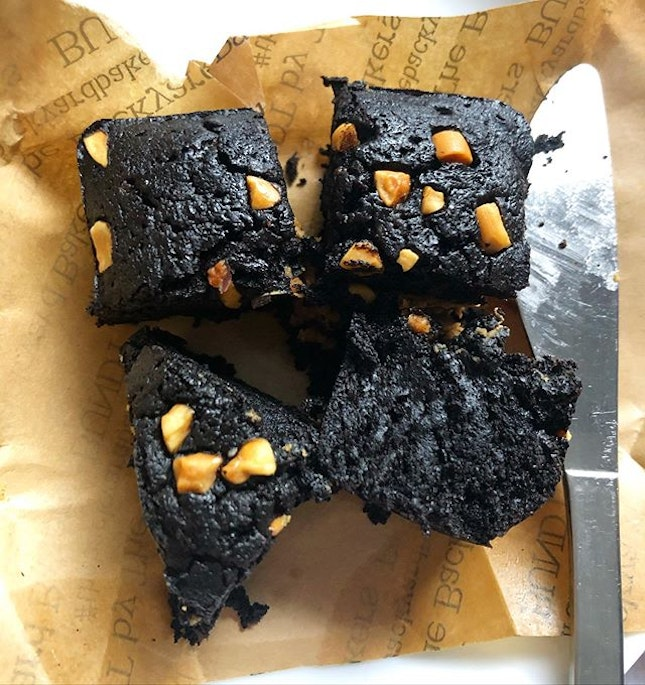 the brownies from the backyard Bakers are on the heavy side, very fudgey and dense.