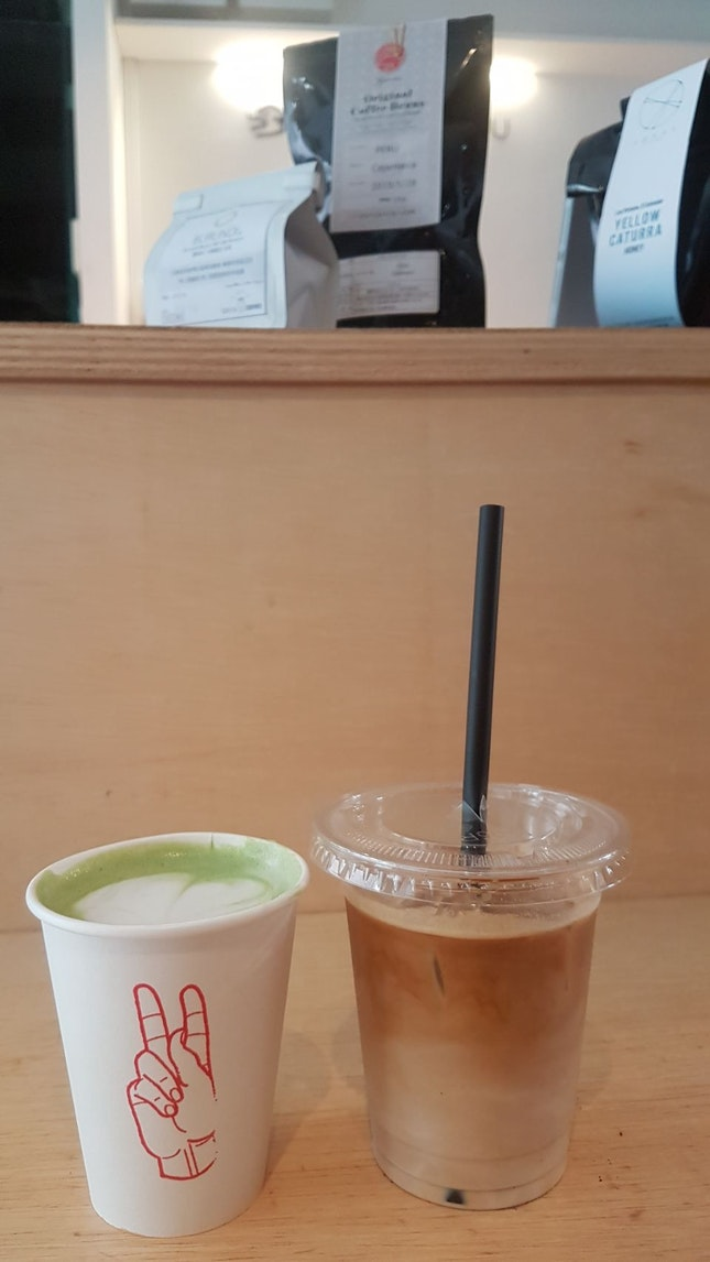 Hot Matcha Latte And Iced White
